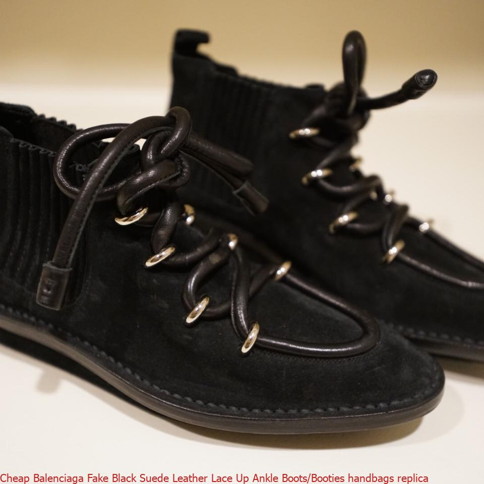9a3c8d15e35 Cheap Balenciaga Fake Black Suede Leather Lace Up Ankle Boots/Booties  handbags replica