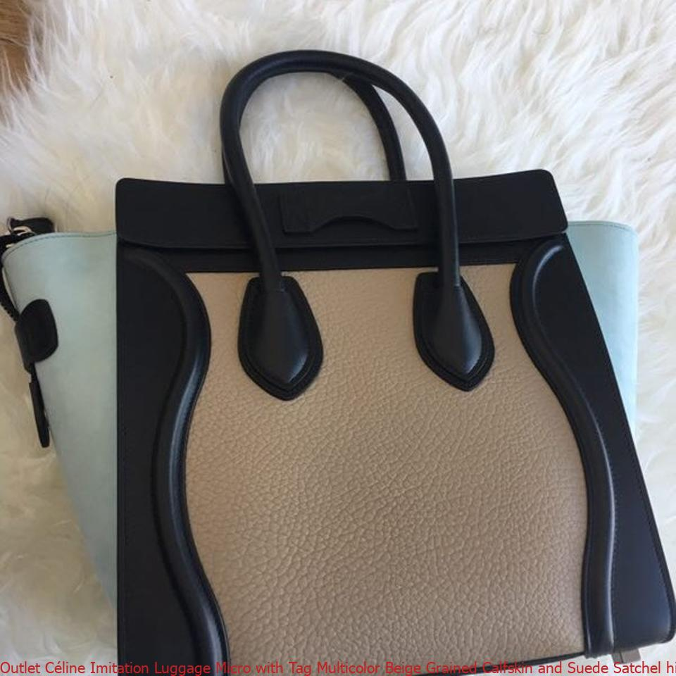 50a4dc2f2c86 Outlet Céline Imitation Luggage Micro with Tag Multicolor Beige Grained  Calfskin and Suede Satchel high quality prada replica handbags